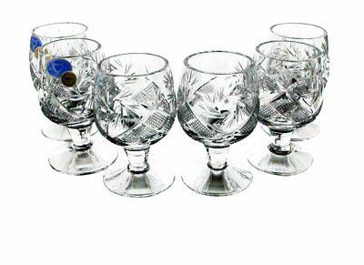 Russian Cut Crystal Shot Glasses Short Stem Vodka Cognac15 ml Hand Made-Set of 6