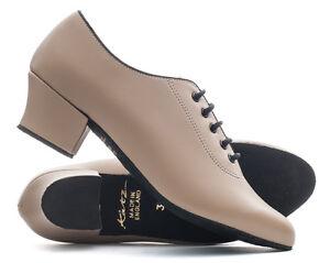 Tan-Nude-PU-Suede-Sole-Lace-Up-Practice-Jive-Cerco-Stage-Line-Dance-Shoes-Katz
