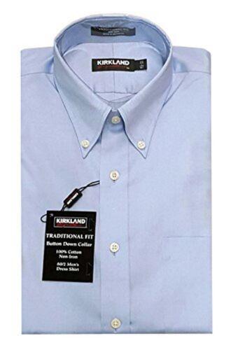 NWT KIRKLAND NON-IRON TRADITIONAL FIT BUTTONDOWN DRESS SHIRT LIGHT BLUE 15.5 33