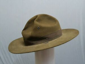 AUTHENTIC-VINTAGE-MILITARY-ISSUED-DRILL-SARGENT-INSTRUCTOR-HAT-WOOL-FELT-GREEN