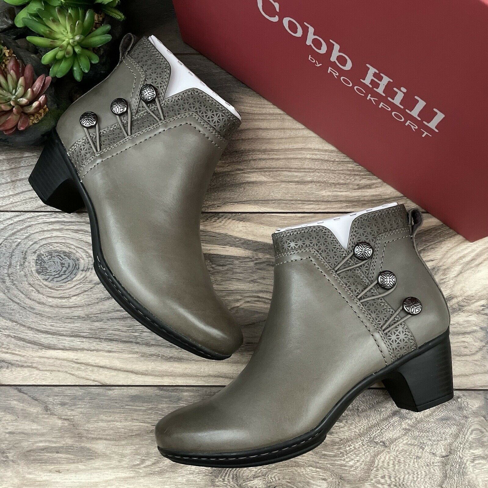 NIB Rockport Cobb Hill Kailyn Ankle Boot Bootie Grey Leather 8M 39