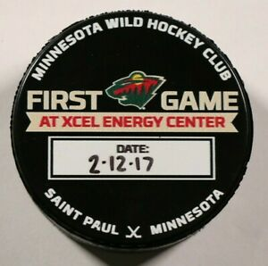 Minnesota Wild First Game at Excel Energy Center Hockey Puck 2017 NHL 1st