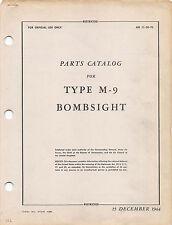 1944 M-9 Norden Bombsight Parts Catalog World War II book Flight Manual - CD