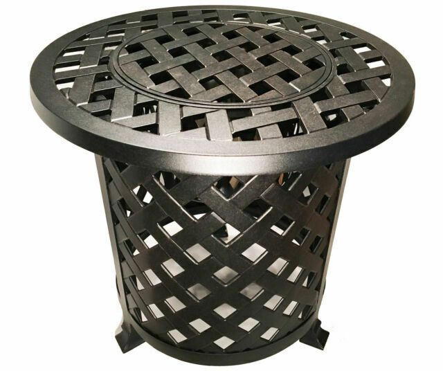 Round Patio End Table With Ice Bucket Insert Nassau Outdoor Cast Aluminum For Sale Online Ebay