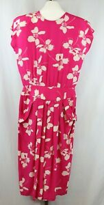 Maggie London Womens Ladies Pink Floral Short Sleeve Silk Dress Size 14