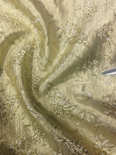 "Brocade Jacquard Christmas Tree Gold 60/"" Wide"