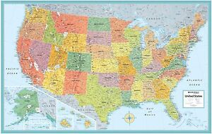 New Rand Mcnally US States Wall Map Kids Illustrated USA 50x32