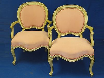 1900-1950 2x Chic 40's Dorothy Draper Era Swirl Line Carved Wood Occasional Arm Chair Antiques