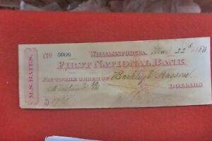 1880-EARLY-CHEQUE-FIRST-NATIONAL-BANK-WILLIAMSPORT-PA-M-S-BATES-GROCERIES
