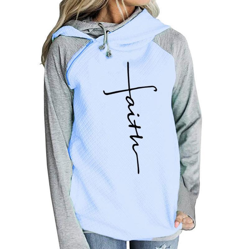 Autumn damen Faith Embroidery Hoodies Long Sleeve Sweatshirts Warm Hooded 5xl
