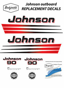 Johnson-BOMBARDIER-90hp-Replacement-Outboard-Decals-stickers