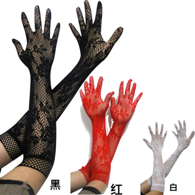 Women Sexy Stretch Lace Opear/ Long Lace Elbow Length Elegant Burlesque Gloves