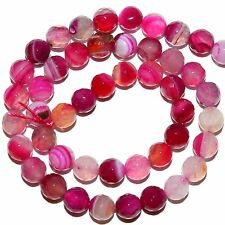"""GR1811L Pink Fuchsia Rose Stripe 8mm Faceted Round Lace Agate Gemstone Bead 14"""""""