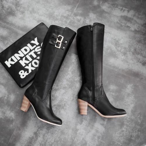 Gr.32-48 Damen Kniehohe Stiefel Mode Gute Qualität Solid Schnalle Schwarz Beige