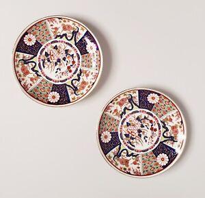 "2 Vintage Imari Ware Japan Hand Painted Floral Gold Decorative Plates 6 1/4"""