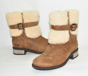 60db0d3a0b6 Details about New! Ugg Blayre II Shearling Cuff Bootie Chestnut Suede Size  6 1008220