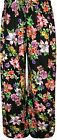 Ladies Plus Size Womens Floral Plain Print Wide Leg Palazzo Trousers Pants 10-26
