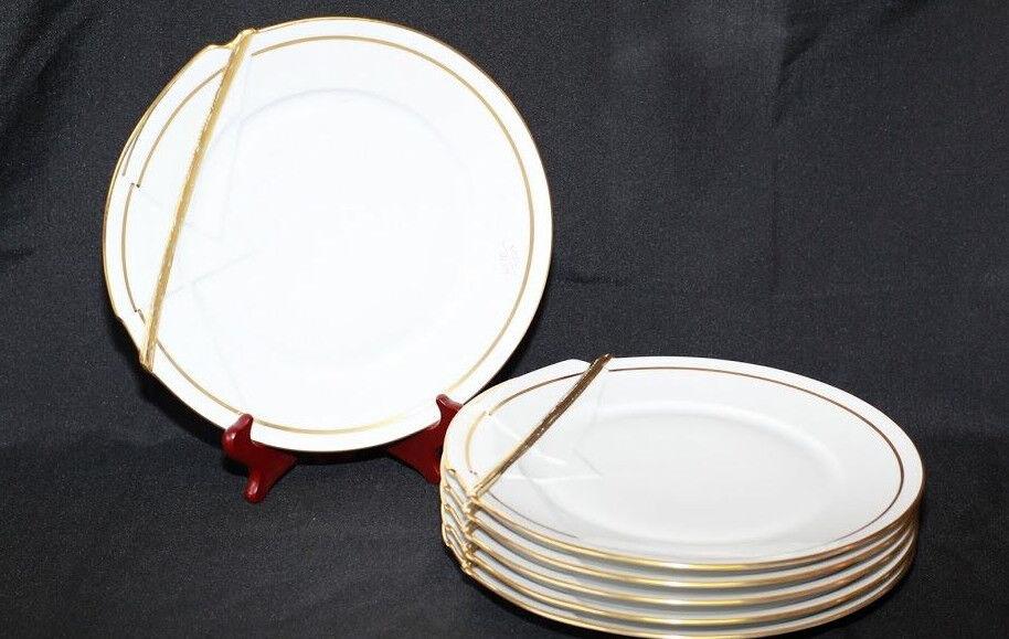 Limoges Haviland Field Beretta 6 assiettes effet cassées Blanches et dorées