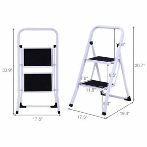 Incredible Details About Heavy Duty 2 Step Kitchen Indoor Ladder Folding Steel Step Stool Anti Slip Feet Pabps2019 Chair Design Images Pabps2019Com
