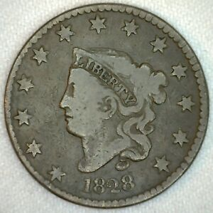 1828-Coronet-Head-US-One-Cent-Penny-Coin-1c-Large-Cent-Copper-Coin-VG-Very-Good