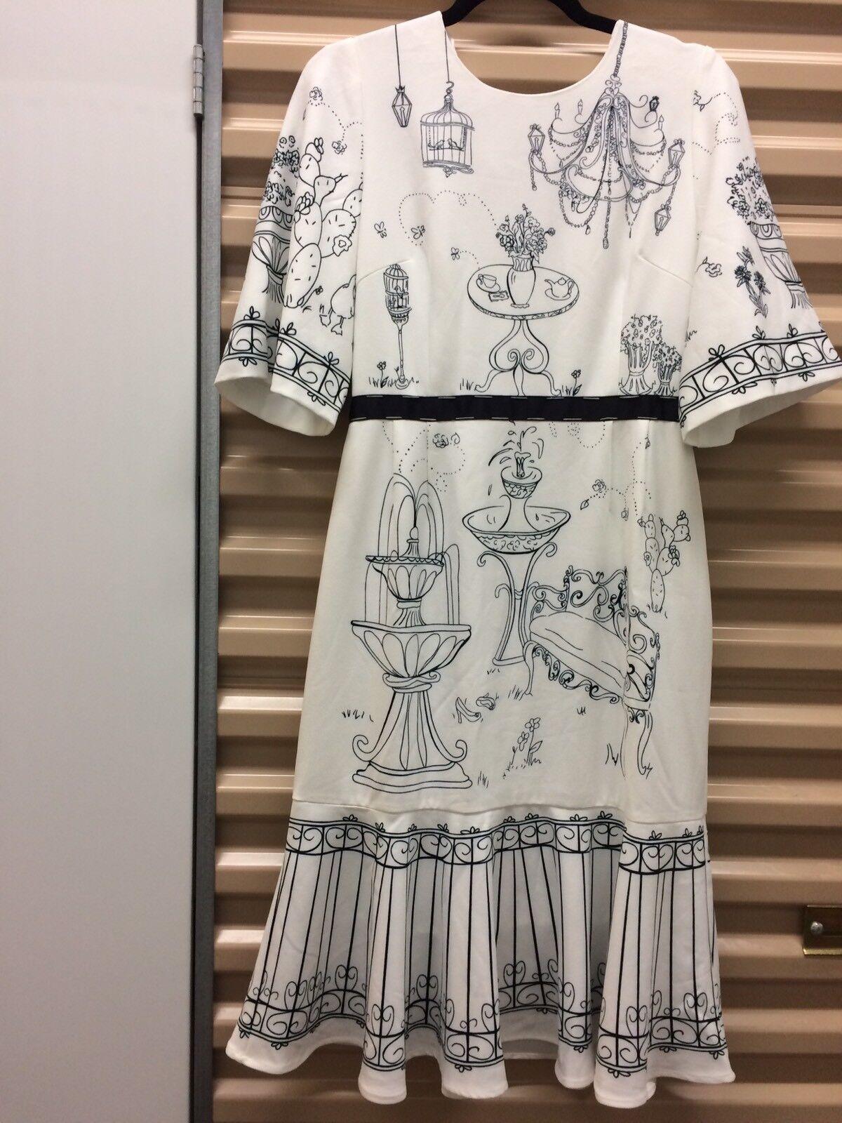 Moonaa Liisaa Summer Dress Blau Weiß Retro L XL EUC