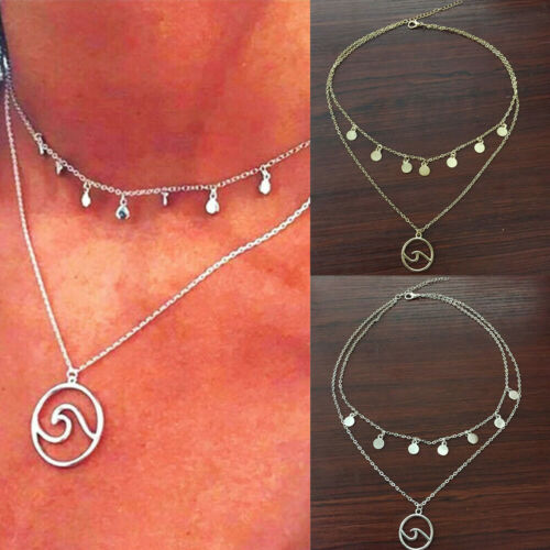Details about  /2020 Gold Silver Women Fashion Chain Choker Wave Geometric Pendant Necklace Gift