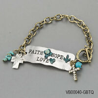 Antique Silver Gold Faith Hope Love Statement Cross Charms Religious Bracelet