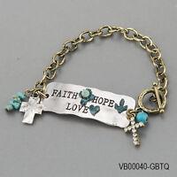 Antique Silver Gold Faith Hope Love Statement Cross Charms Religious Bracelet