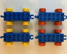LEGO Duplo 10 pc Lot Car Truck Vehicle Wheel Bases w Hitches Blue Yellow 548