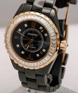 3cb19854691 CHANEL J12 BLACK CERAMIC ROSE GOLD WATCH DIAMOND BAUGETTES BEZEL ...