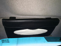 Car Auto Accessories Sun Visor Tissue Paper Holder Clip Black Leather Wallet