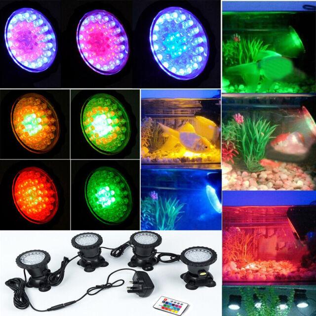 1 Set 4 Lights RGB LED Garden Fountain Pond Lamp Underwater Spot Light Aquarium