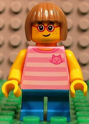 Lego City 60134 Fun in the Park GIRL w// Glasses Pink Shirt short legs minifigure