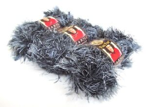 Bizzy1-Lion-Brand-Yarn-Fun-Fur-Black-Grey-150-Onyx-3-Skeins-192-Yards