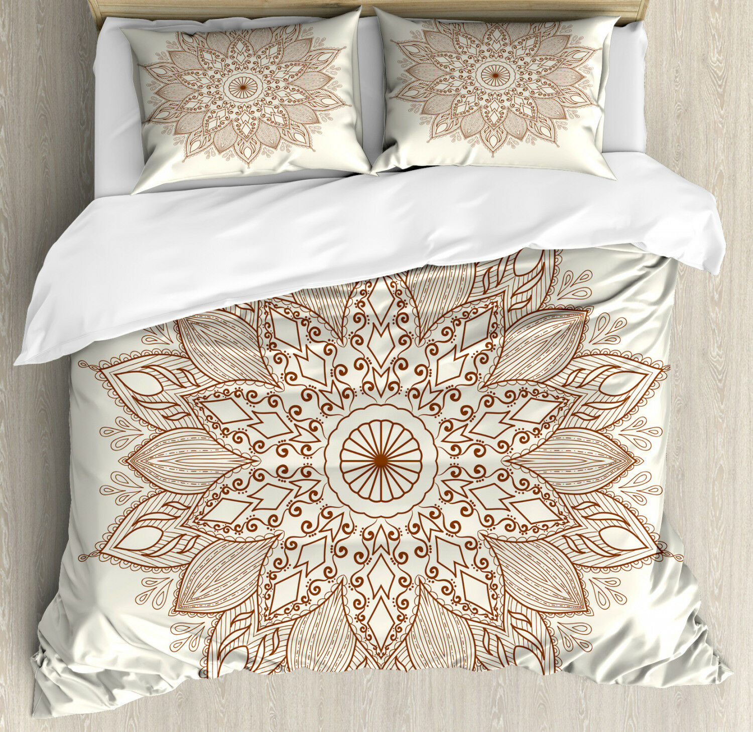 Retro Duvet Cover Set with Pillow Shams Tribal Flower Ethnic Lace Print