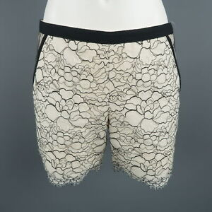 ANDREW-GN-Size-6-White-Black-Wool-Blend-Floral-Lace-Shorts