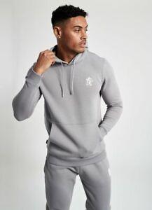 Gym-King-Mens-New-Long-Sleeve-Overhead-Hoodie-Basis-Silver-Grey