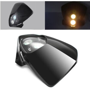 12V Motorcycle Headlight Fairing Lamp Front Dual Light Transparent glass lens
