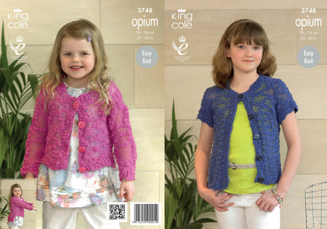 5d11bd6248feb6 King Cole Girls Knitting Pattern Opium Easy Knit Long Short Sleeve Cardigan  3748
