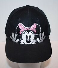 Disney Minnie Mouse Black Snapback Baseball Hat One Size Fits All Youth FREE Shp