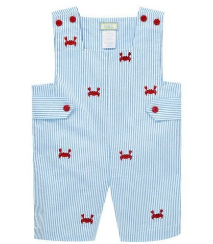 Boys blue seersucker boutique romper 2T NWT embroidered red crab outfit July 4th