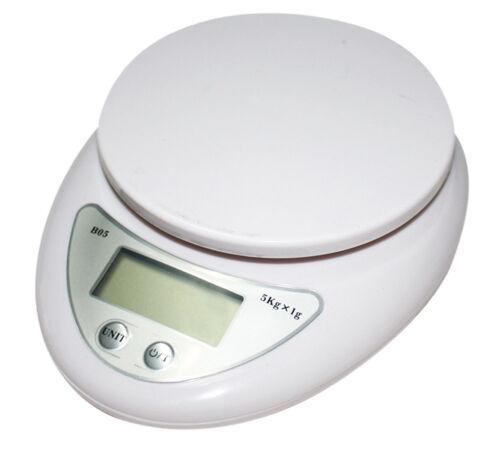 New Electronic Kitchen Scale 176oz//0.1oz 5Kg//1g Digital WH-B05 Diet Food White