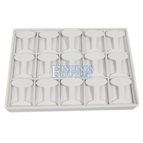White Faux Leather 15 Pair Earring Jewelry Display Holder Showcase Stand Tray