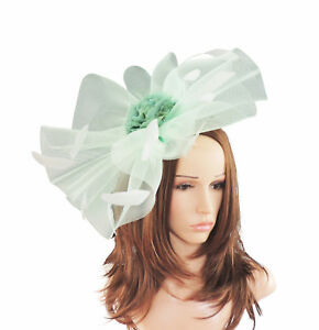 Image is loading Mint-Green-Fascinator-Hat-For-Weddings-Ascot-Kentucky- f9dca7bf39e