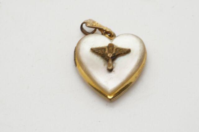 WWI Era Army Air Service Wings Sweetheart Heart Shaped Photo Locket Pendant