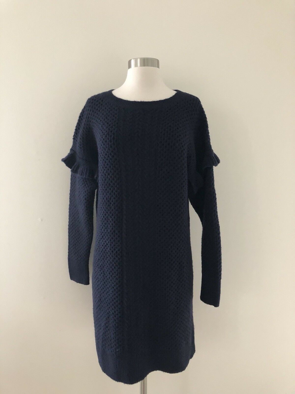 New J Crew Cable-knit ruffle-sleeve sweater-dress Navy bluee Size M H2478