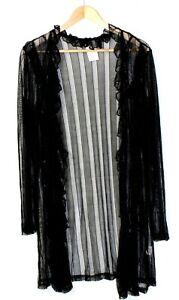 Drape-Cardigan-Size-10-Women-NEW-COVER-Black-Ruffles-Jacket-Sheer-Top-Mesh-Coat