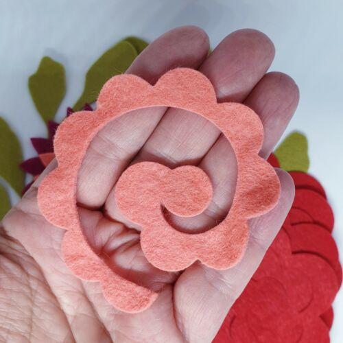 Red /& Pink Felt Flower Kit 3D Roll Up Flowers Die Cut Felt Flowers