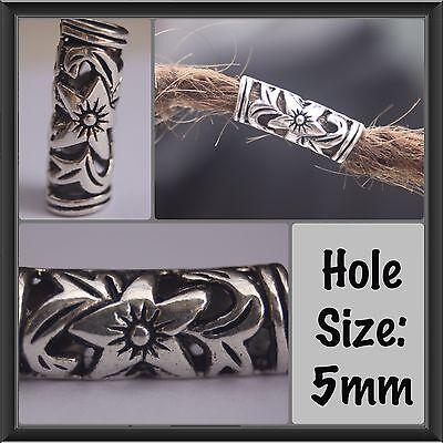 10 Tibetan Style Silver Flower Dreadlock Beads 5mm Hole (3/16 Inch) Hair Beads