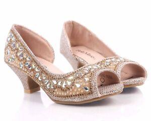 Silver Blink Rhinestones Slip on Girls Party Dressy Kitten Heels Youth Size 13